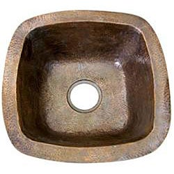 Large Copper Flat Lip Antique Finish Bar/Prep sink - Thumbnail 1
