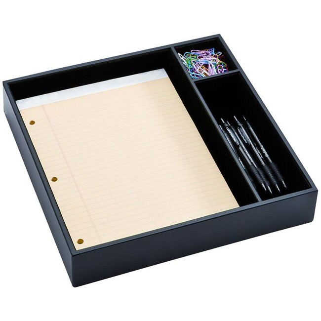 Dacasso Black Leather Conference Room Organizer
