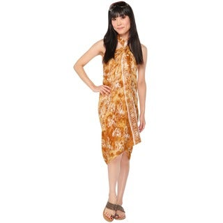 1 World Sarongs Women's Butterfly Tan and White Sarong (Indonesia)