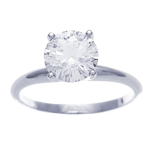 14k White Gold Round Cut Moissanite Solitaire Ring