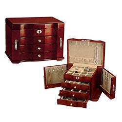 Hand-Lined Wooden Jewelry Box with Lock and Key