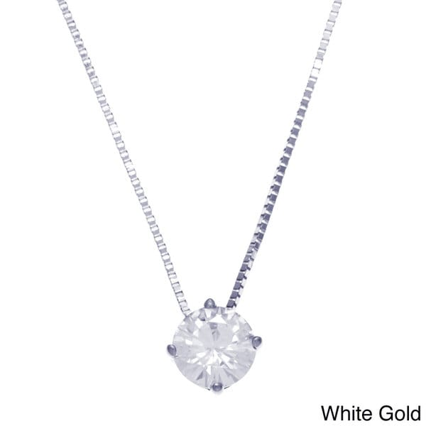 14k White Gold Round Moissanite Solitaire Necklace