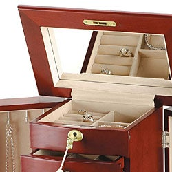 Wooden Jewelry Box with Lock and Key