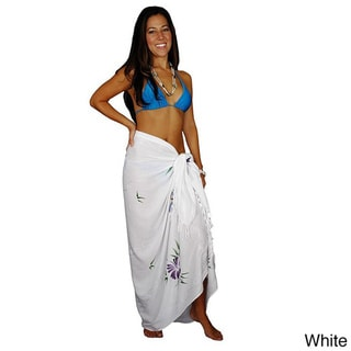 1 World Sarongs Women's Sequined and Embroidered Butterfly Sarong (Indonesia)