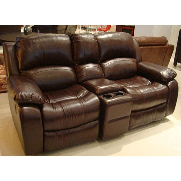 Tuscan Brown Italian Leather Reclining Loveseat Free