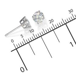 14k White Gold Round-cut Moissanite Stud Earrings