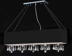 Rectangular Black Chrome 5-light Crystal Chandelier - Thumbnail 1