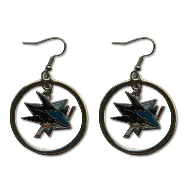 San Jose Sharks NHL Hoop Logo Earrings