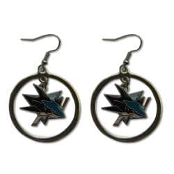 San Jose Sharks NHL Hoop Logo Earrings