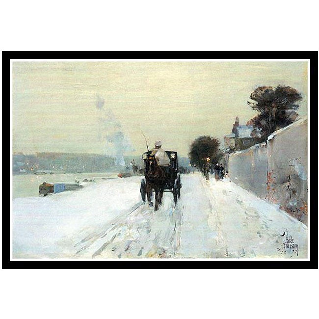 Frederick Childe Hassam 'Along the Seine' Framed Art Print