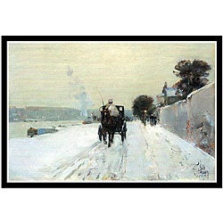 Frederick Childe Hassam 'Along the Seine' Framed Art Print - Thumbnail 0
