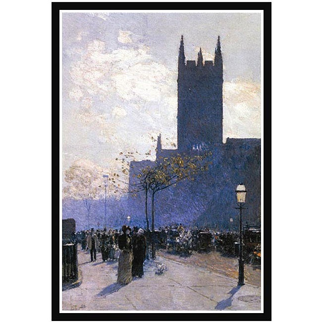 Hassam 'Lower Fifth Avenue' Canvas Framed Art