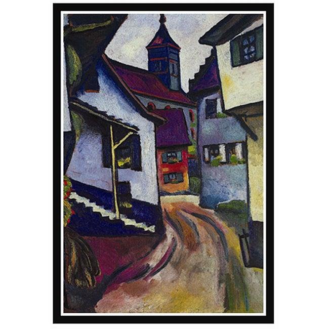 August Macke 'Street with a Church' Framed Art Print
