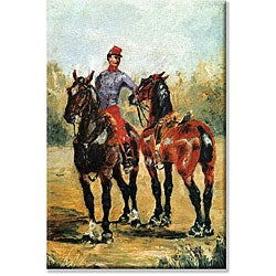 Toulouse-Lautrec 'Groom with Two Horses' Canvas Art