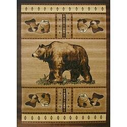The Lodge Bear Beige Southwestern Rug (4' x 6')