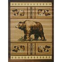 The Lodge Bear Beige Southwestern Rug (8' x 11')