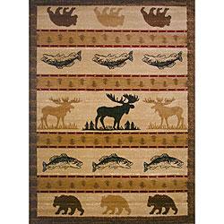 The Lodge Animal Beige Southwestern Rug (4' x 6')