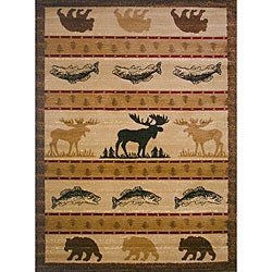 The Lodge Animal Beige Southwestern Rug (8' x 11') - Thumbnail 0