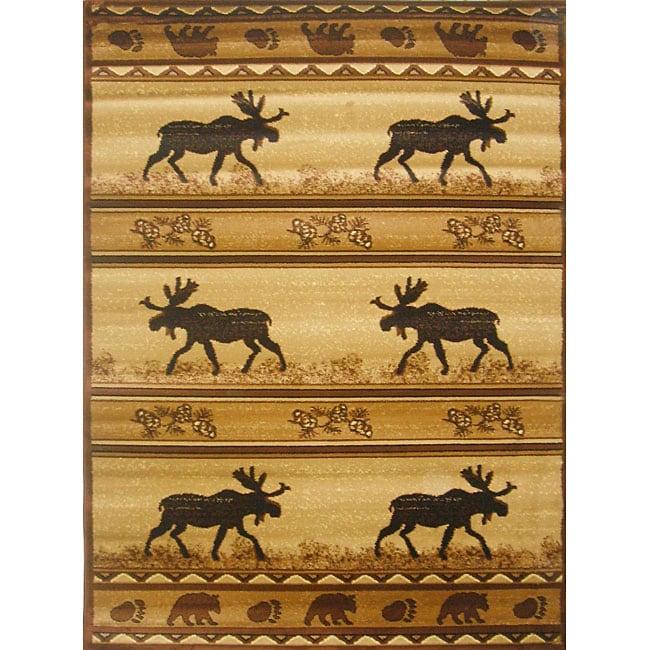 The Lodge Moose Southwestern Rug (8' x 11')
