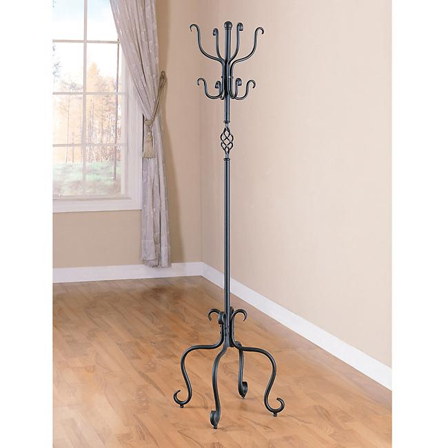 Spiral Design Sandy Black Metal Coat/ Hat Rack - Thumbnail 0