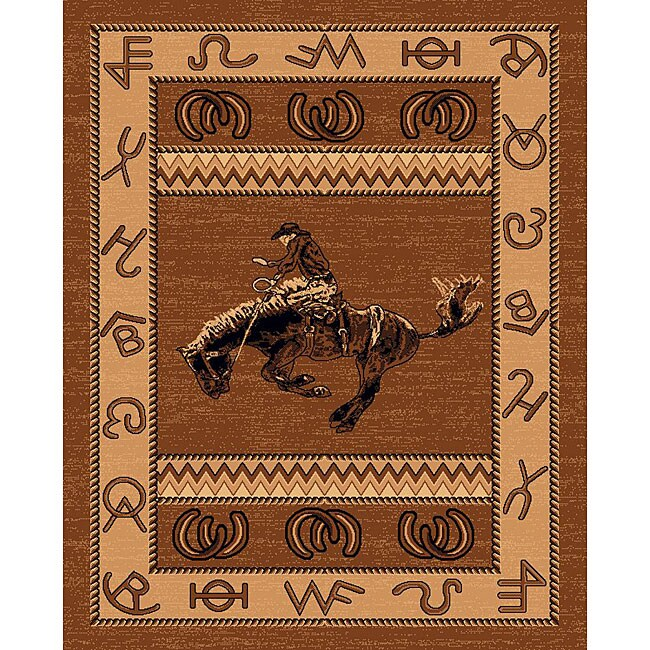 The Lodge Cowboy Southwestern Rug (5' x 8'), Beige, Size ...