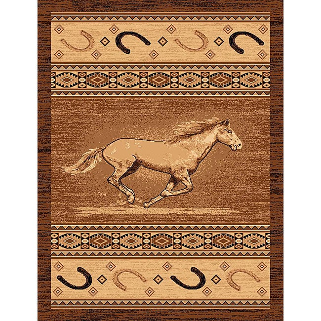 The Lodge Horse Southwestern Rug (4' x 6'), Brown, Size 4...