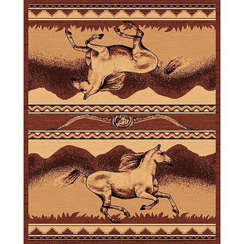 The Lodge Horses Southwestern Rug - 4' x 6'