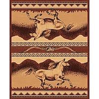 The Lodge Horses Southwestern Rug (4' x 6')