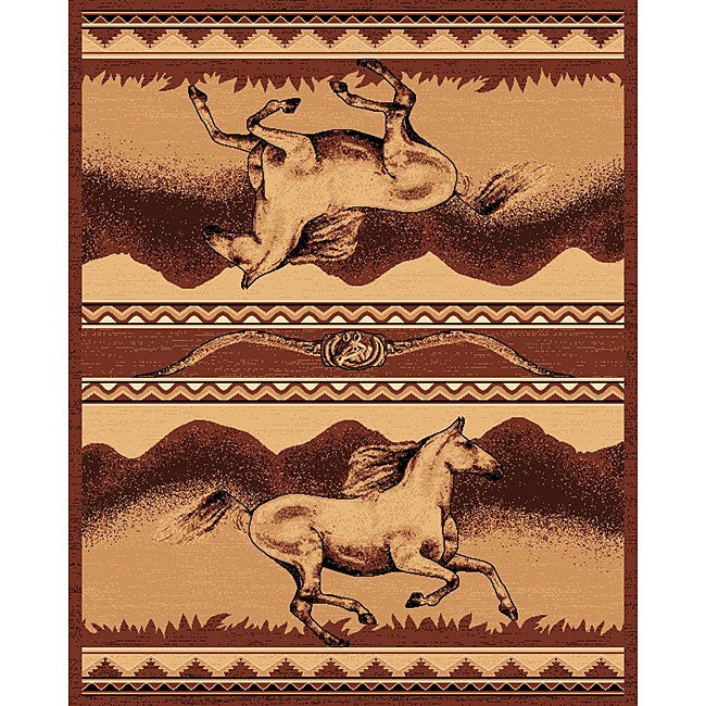 The Lodge Horses Southwestern Rug - 5' x 8'