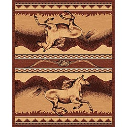 The Lodge Horses Southwestern Rug - 8' x 11' - Thumbnail 0