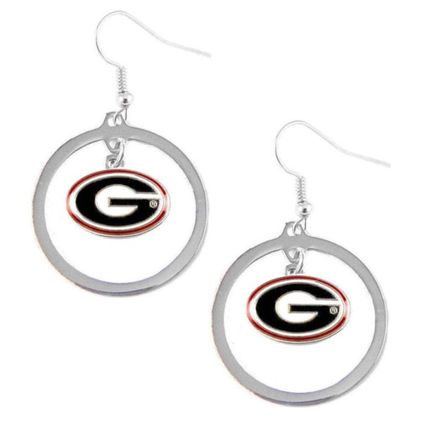 NCAA Georgia Bulldogs Dangle Logo Hoop Earrings