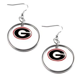 NCAA Georgia Bulldogs Dangle Logo Hoop Earrings