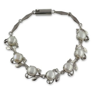 Link to Handmade White Pearls Sterling Silver Bracelet (India) Similar Items in Fashion Jewelry Store