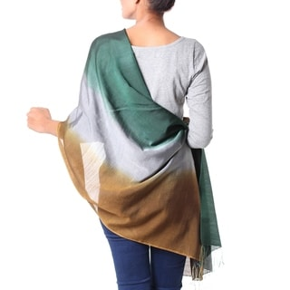 Earth Shimmer Hand Woven Silk and Wool Delicate Ombre Teal Gray and Copper Womens Year Round Day or Evening Wrap Shawl (India)