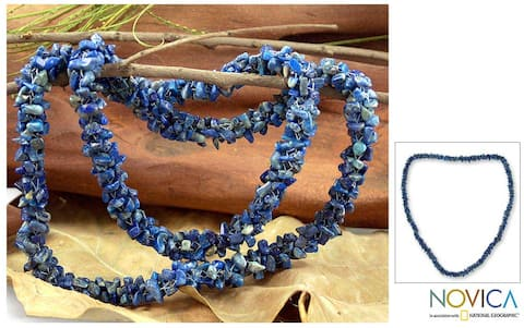 Handmade Azure Garland Natural Uncut Polished Blue Lapis Lazuli Gemstone Beads Cluster Strand Womens Long Necklace (India)