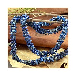 Azure Garland Natural Uncut Polished Blue Lapis Lazuli Gemstone Beads Cluster Strand Womens Long Necklace (India)
