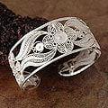 Silver Filigree 'Snow Blossom' Cuff Bracelet (Peru)