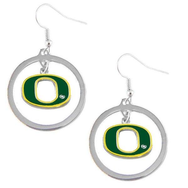 Stainless Steel NCAA Oregon Ducks Logo Hoop Earring Set