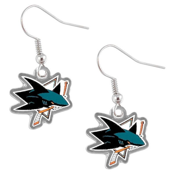 San Jose Sharks NHL Dangle Logo Earrings