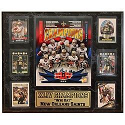 Super Bowl XLIV Champion New Orleans Saints 13x20 Six Card Plaque