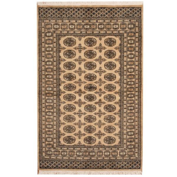 Herat Oriental Pakistani Hand-knotted Bokhara Beige/ Black Wool Rug (4' x 6')