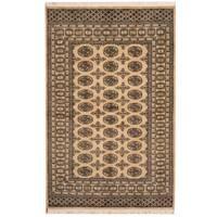 Handmade Herat Oriental Pakistani Bokhara Beige/ Black Wool Rug (Pakistan) - 4' x 6'
