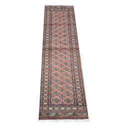 Herat Oriental Pakistani Hand-knotted Bokhara Peach/ Ivory Wool Runner (2'8 x 10')