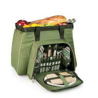 Picnic Time Toluca Pine Green Insulated cooler picnic svc for 2