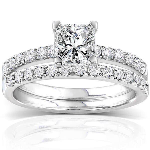 Annello by Kobelli 14k White Gold 1 1/2ct TDW Diamond Princess Cut Bridal Ring Set (H-I,