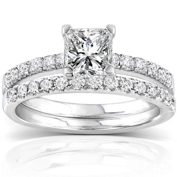 Annello 14k White Gold 1 1/2ct TDW Diamond Princess Cut Bridal Ring Set (H-I, I1-I2)