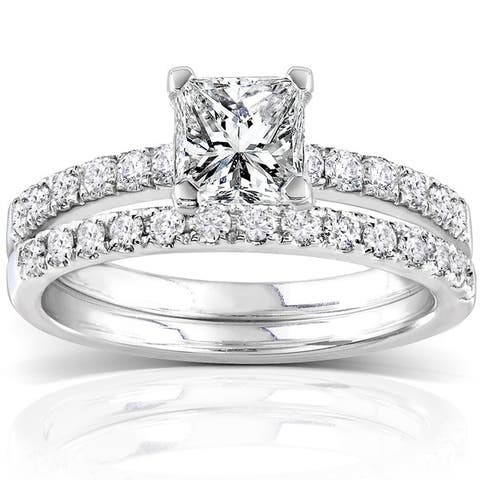 Annello by Kobelli 14k White Gold 1 1/2ct TDW Diamond Princess Cut Bridal Ring Set