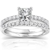 Annello 14k White Gold 1 1/2ct TDW Diamond Princess Cut Bridal Ring Set