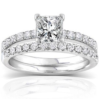 Annello 14k White Gold 1 1/2ct TDW Diamond Princess Cut Bridal Ring Set