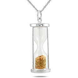 Marquee Jewels Sterling Silver 'Time in a Bottle' Citrine November Birthstone Necklace
